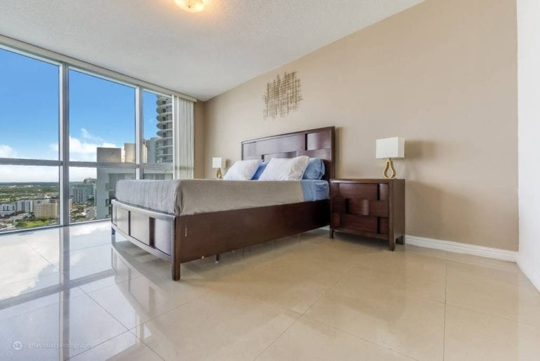 The bedrooms boast gorgeous views overlooking Miami. Miami on the cheap.