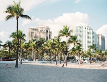 Miami Beach with buildings in the background