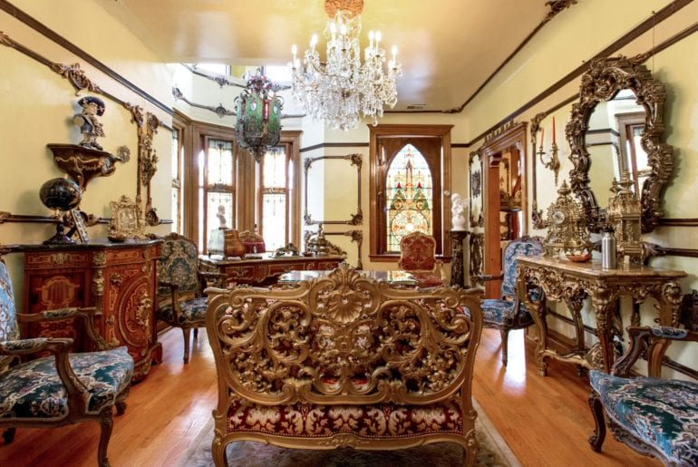 Ornate decor fill the rooms of this castle to make any guest feel like royalty