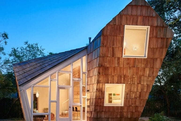 Austin Hilton Architect-designed one-of-a-kind retreat with lopsided design and rematerialized shingles