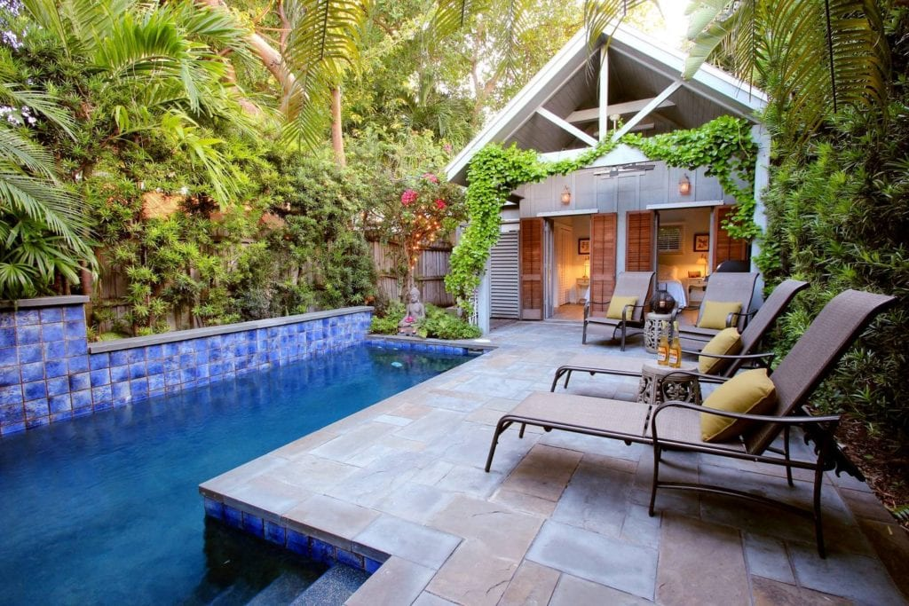 Poolside pavilion of a romantic couple's cottage in Key West