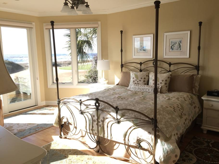 Ocean view from this sunny bedroom in Charleston Airbnbs near beaches