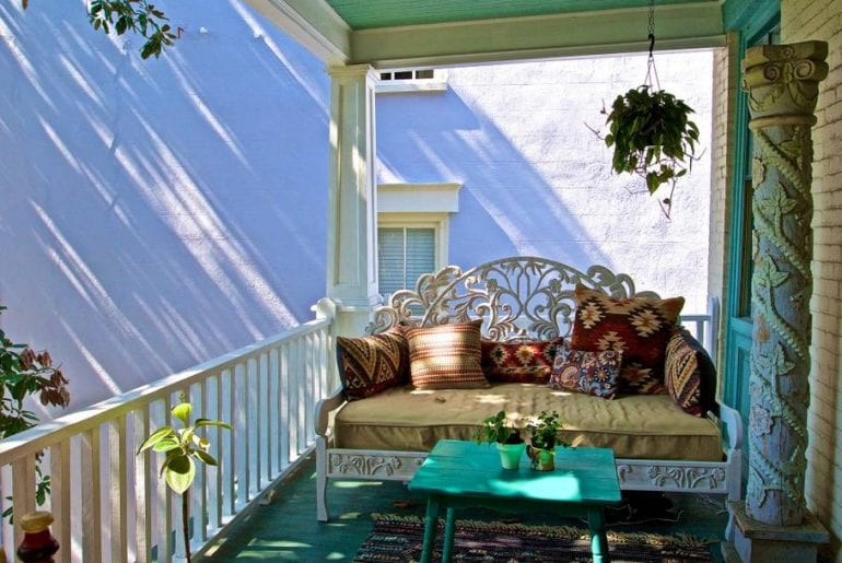 Whimsically decorated front porch of this French Quarter home
