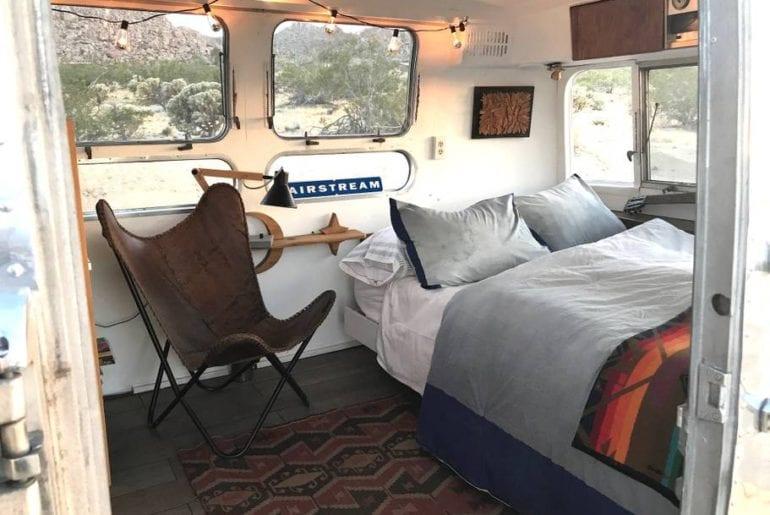 remodelled retro airbnb trailer in joshua tree