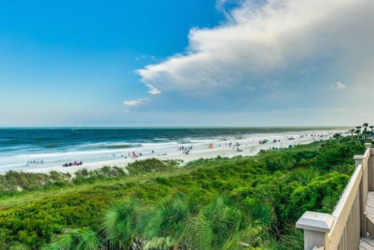 a beachfront view