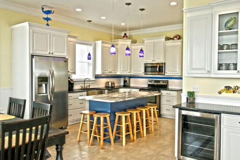 the kitchen in a vacation rental in myrtle beach