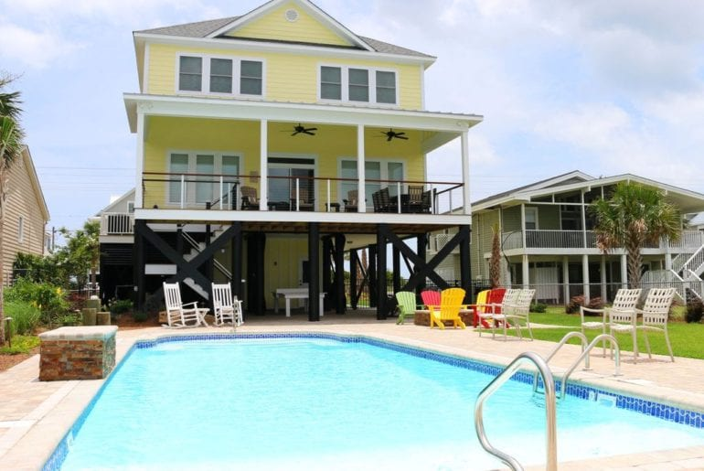a holiday rental yellow house with pool in south carolina