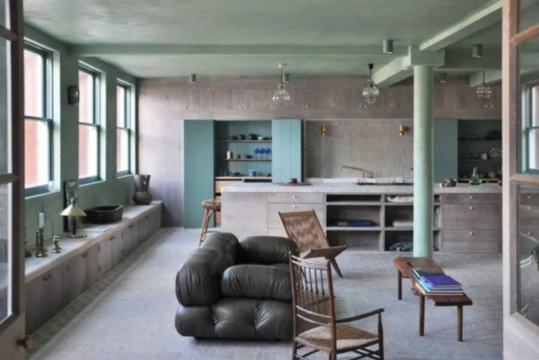 A London Airbnb with concrete walls and stripped back interior design