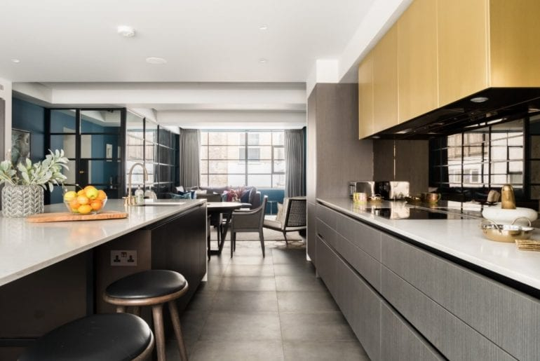 modern kitchen with stripped back, angular design