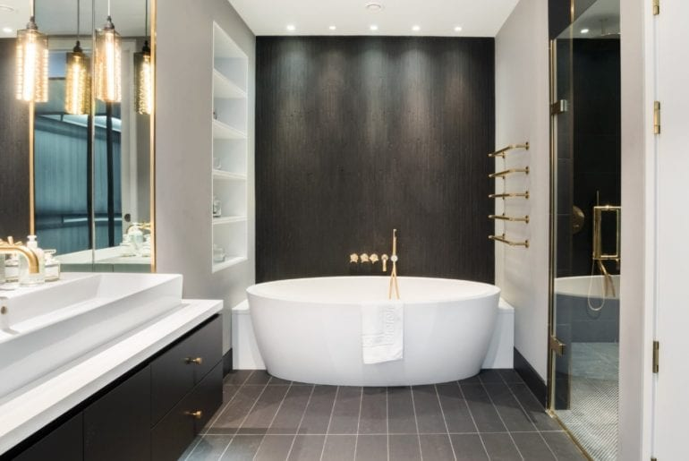 stand-alone bathtub in luxury London Airbnb