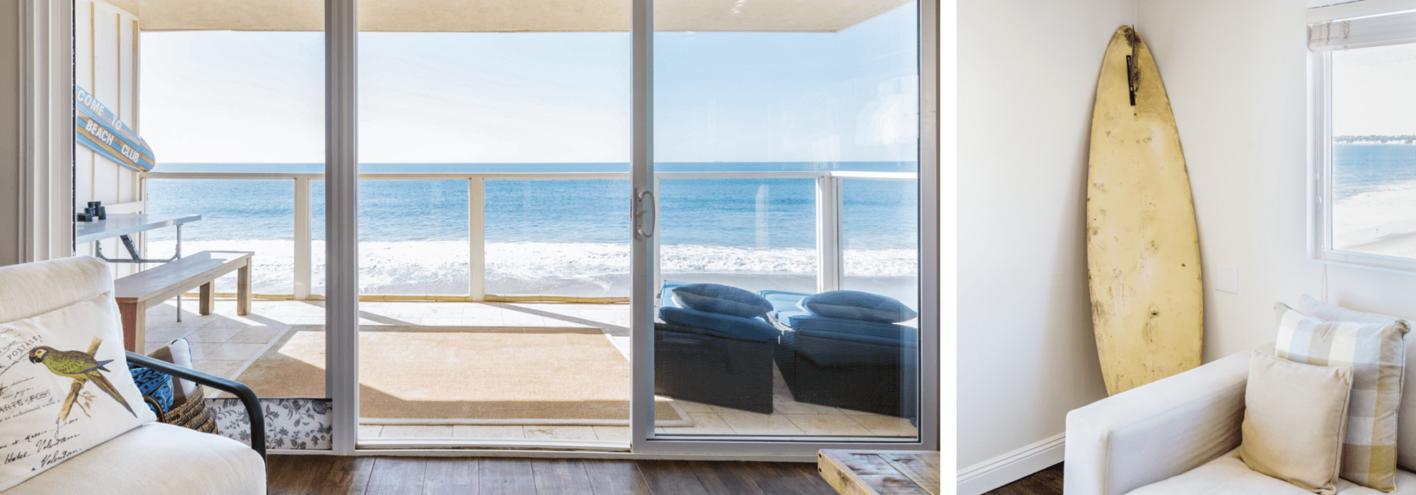 sea view with surfboard from Los Angeles Airbnb